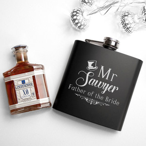 Personalised Father Of The Bride Black Matte Hip Flask From Something Personal