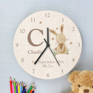 Personalised Hessian Rabbit Shabby Chic Large Wooden Clock From Something Personal