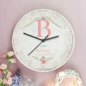 Personalised Floral Bouquet Shabby Chic Large Wooden Clock From Something Personal