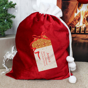 Personalised Luxury Present Pom Pom Sack From Something Personal