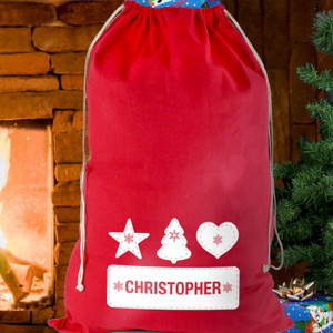 Personalised Festive Stitch Cotton Sack From Something Personal