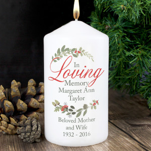 Personalised In Loving Memory Wreath Candle From Something Personal