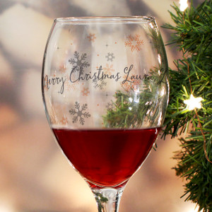 Personalised Snowflake Wine Glass From Something Personal