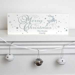 Personalised Silver Reindeer Mantel Block From Something Personal