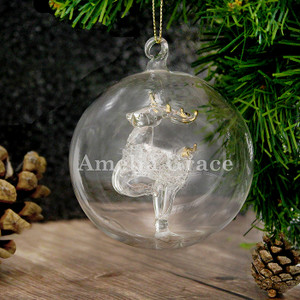 Personalised Name Only Reindeer Glass Bauble From Something Personal