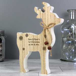 Personalised Rustic Wooden Reindeer Decoration From Something Personal