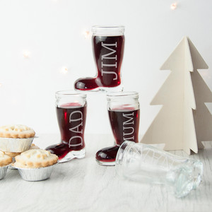 Personalised Set Of 4 Santa Boots Shot Glasses From Something Personal