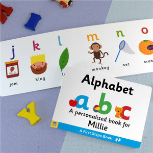 Personalised First Steps Alphabet Board Book For Toddlers From Something Personal