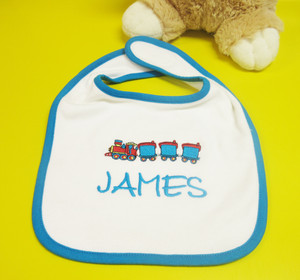 Personalised Blue Train Bib From Something Personal