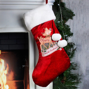Personalised Festive Fawn Luxury Stocking From Something Personal