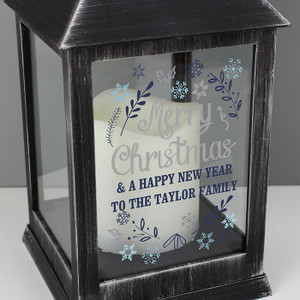 Personalised Christmas Frost Rustic Black Lantern From Something Personal