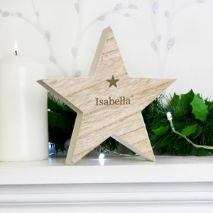 Personalised Rustic Wooden Star Decoration From Something Personal