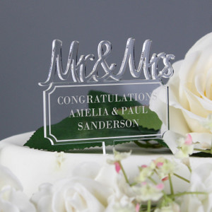 Personalised Mr & Mrs Plaque Acrylic Cake Topper From Something Personal