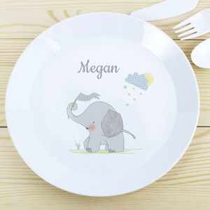 Personalised Hessian Elephant Plastic Plate From Something Personal