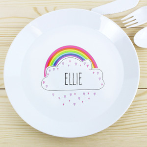 Personalised Rainbow Plastic Plate From Something Personal