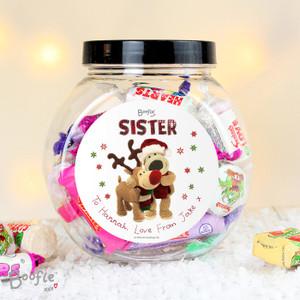 Personalised Boofle Christmas Reindeer Sweet Jar From Something Personal