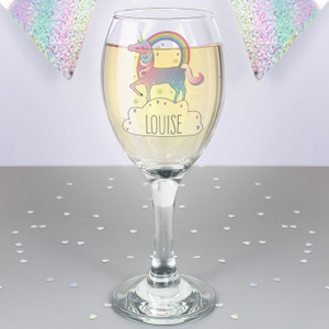 Personalised Unicorn Wine Glass From Something Personal