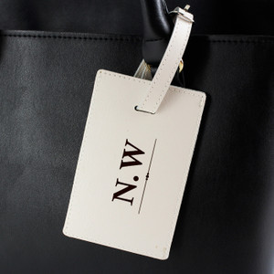 Personalised Classic Initials Cream Luggage Tag From Something Personal