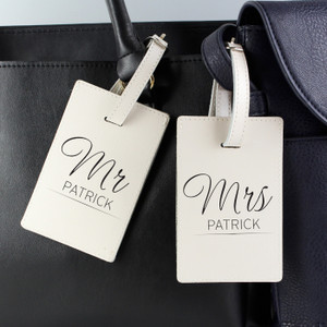 Personalised Mr & Mrs Classic Cream Luggage Tags From Something Personal