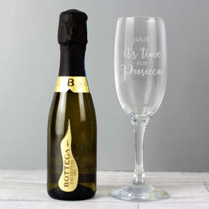 Personalised Its Time For Prosecco Flute & Mini Prosecco Set From Something Personal