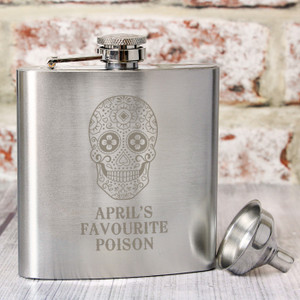 Personalised Sugar Skull Hip Flask From Something Personal
