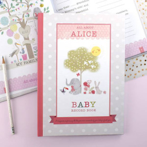 Personalised Baby Girl Record Book From Something Personal