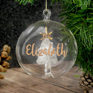 Personalised Gold Glitter Name Tree Glass Bauble From Something Personal