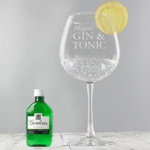 Personalised Gin & Tonic Balloon Glass With Gin Miniature Set From Something Personal