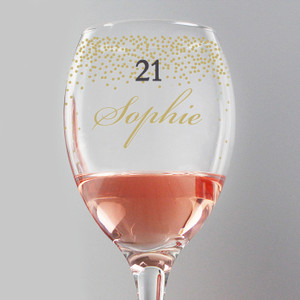 Personalised Gold Confetti Wine Glass From Something Personal