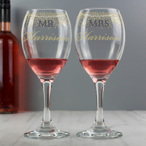 Personalised Mr & Mrs Gold Confetti Pair Of Wine Glasses From Something Personal