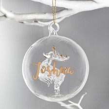 Personalised Gold Glitter Name Reindeer Glass Bauble From Something Personal