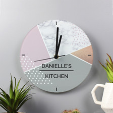Personalised Geometric Glass Clock From Something Personal