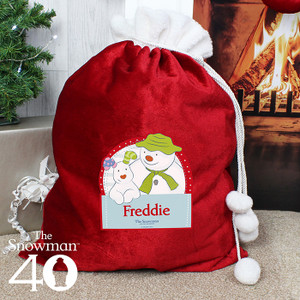 Personalised The Snowman & The Snowdog Luxury Pom Pom Sack From Something Personal