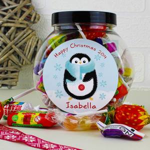 Personalised Felt Stitch Penguin Sweet Jar From Something Personal
