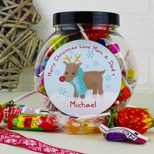 Personalised Felt Stitch Reindeer Sweet Jar From Something Personal