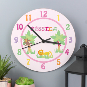 Personalised Animal Alphabet Girls Clock From Something Personal