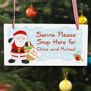 Personalised Santa Stop Here Wooden Sign From Something Personal
