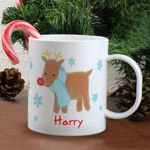 Personalised Reindeer Plastic Mug From Something Personal