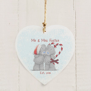 Personalised Me To You Couple Christmas Wooden Heart Decoration From Something Personal