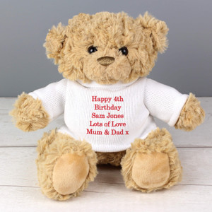 Personalised Teddy Message Bear in Jumper From Something Personal