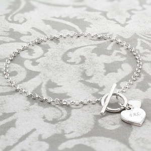 Personalised Hearts T-Bar Bracelet From Something Personal
