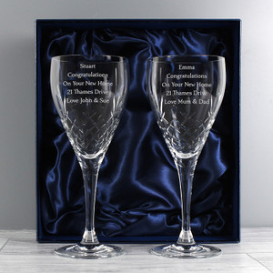 Personalised Crystal Pair of Wine Glasses From Something Personal