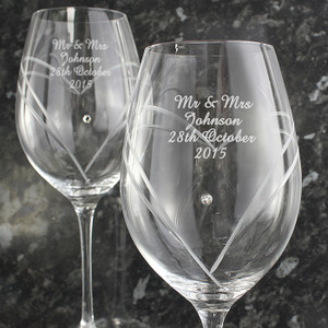 Hand Cut Diamante Heart Wine Glasses with Swarovski Elements From Something Personal