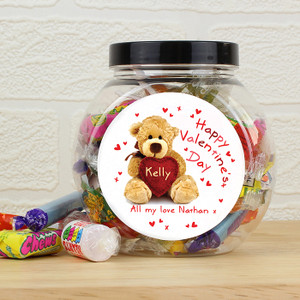 Personalised Teddy Heart Sweet Jar From Something Personal