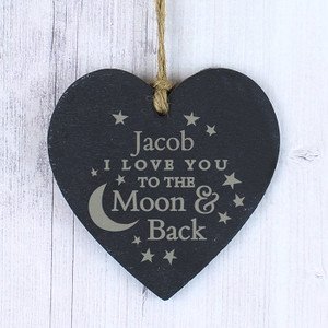 Personalised To The Moon & Back Slate Heart From Something Personal