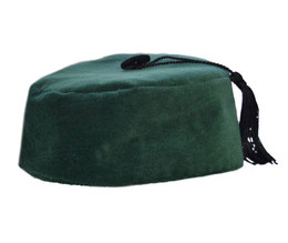 Green Velvet Smoking Cap with Tassel