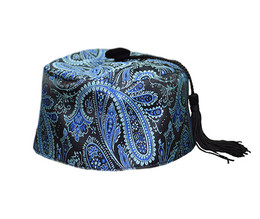 Teal/Black Paisley Smoking Cap