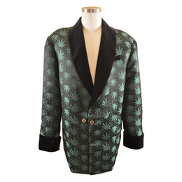 Men's Marijuana Print Smoking Jacket