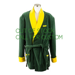Green and Gold Velvet Men's Smoking Jacket
