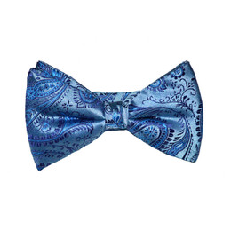 Paisley Bow Tie - Teal Blue